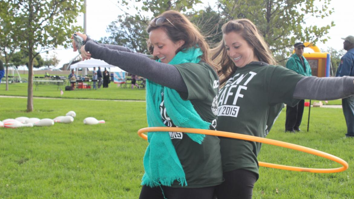 Veterans Field Day 2015- volunteers hula hooping
