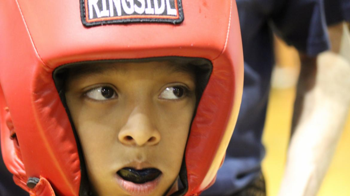 Focused youth at Citywide Boxing.