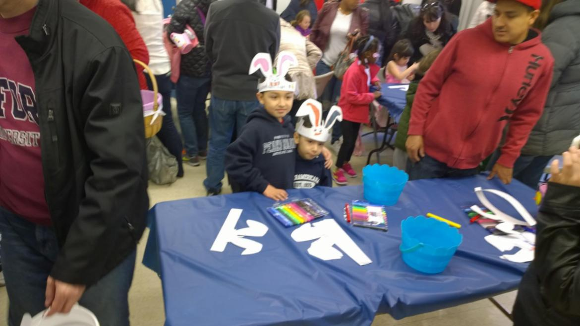 Getting crafty at Clarendon Park annual egg hunt.
