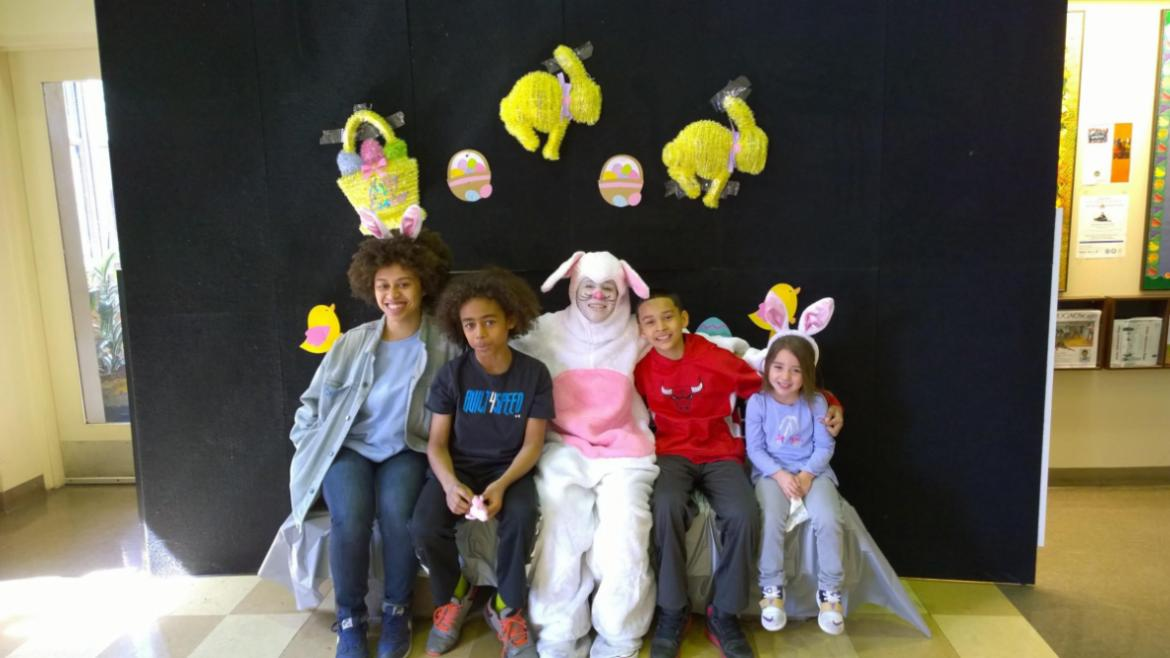 Clarendon Park kids got to visit with the bunny!
