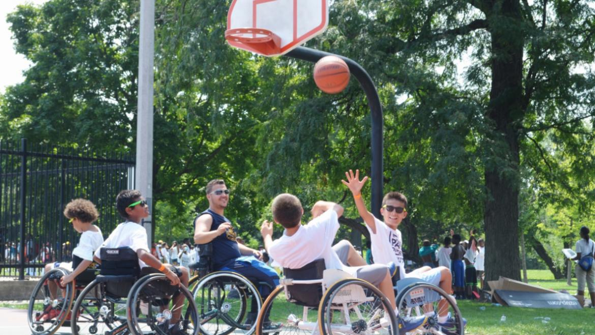 Wheelchair basketball is a workout!