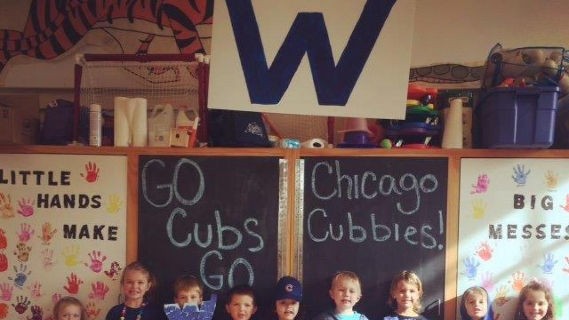 Edison Park Kiddie College love the cubs!