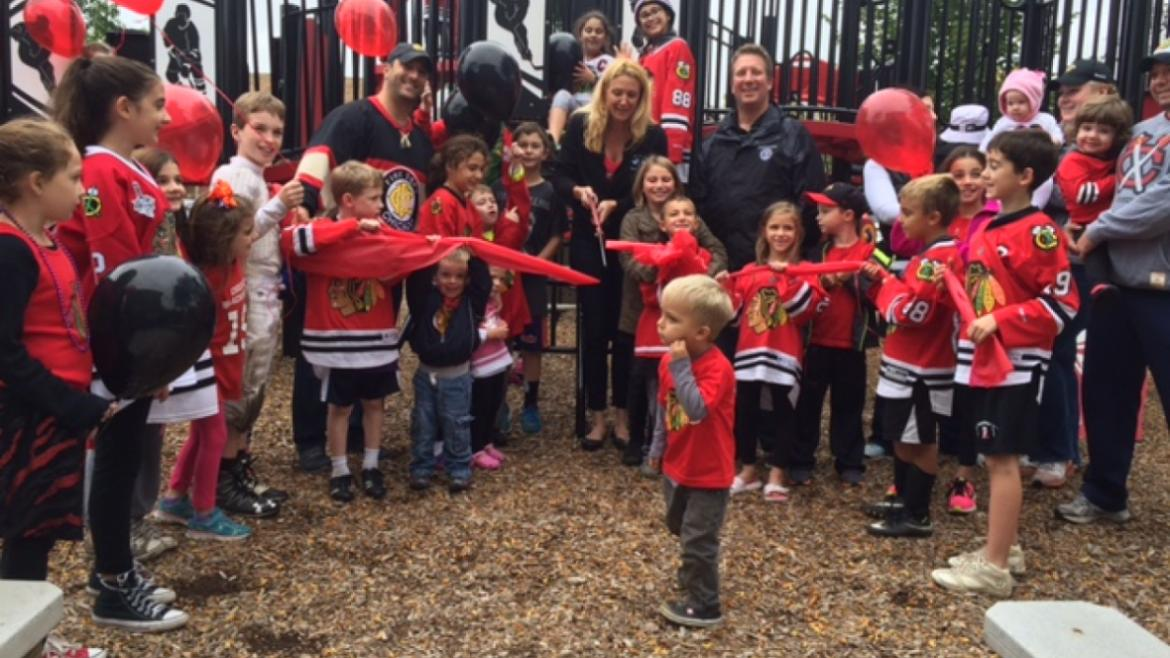 Edison Park is celebrating their Blackhawks themed playground!