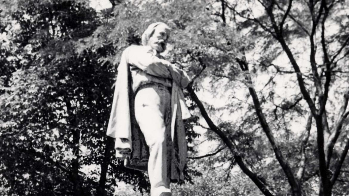 """""""This photograph shows the Giuseppi Garibaldi Monument on its original stone base in Lincoln Park."""