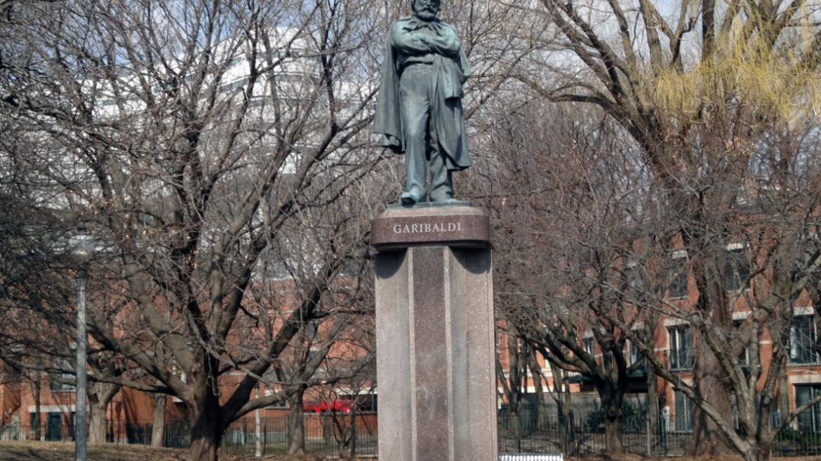 Today, the Garibaldi Monument stands on a contemporary pink granite base in a Little Italy Park.