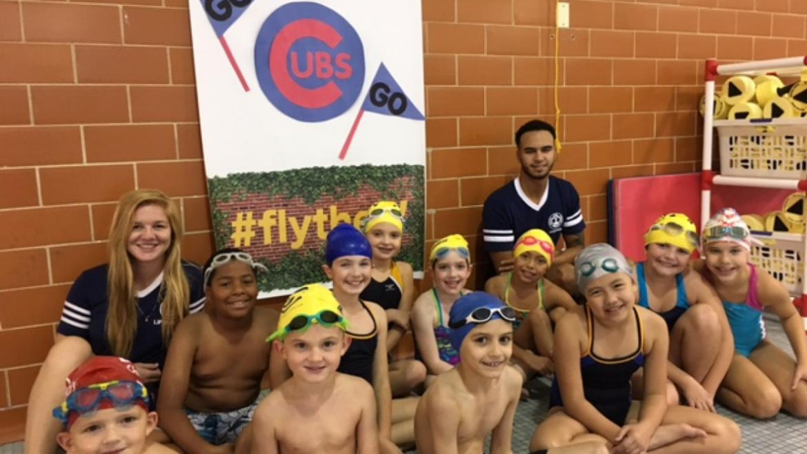 Our Gill Park swimmer wishing the Cubs best of luck in the World Series!