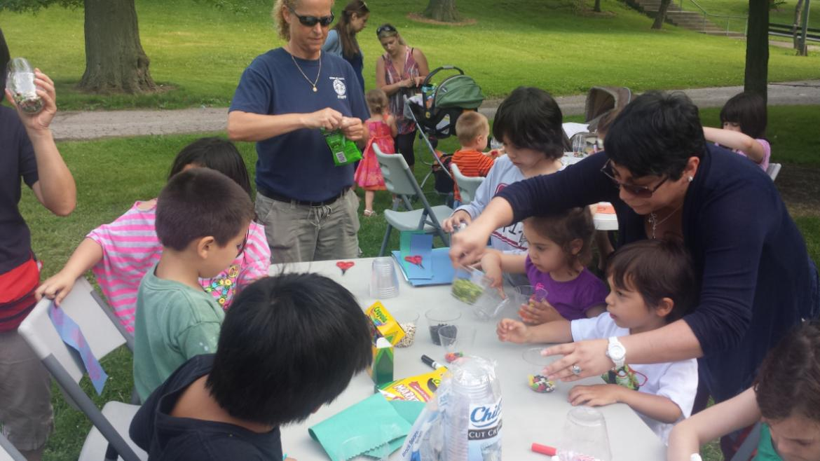 Kids are getting crafty at Gompers Park.