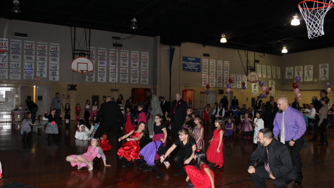 The dance floor is full at Hiawatha Park's Valentine's Day Dance.