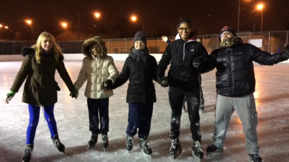 Teens in the Park enjoyed a great evening to ice skating at Riis Park!