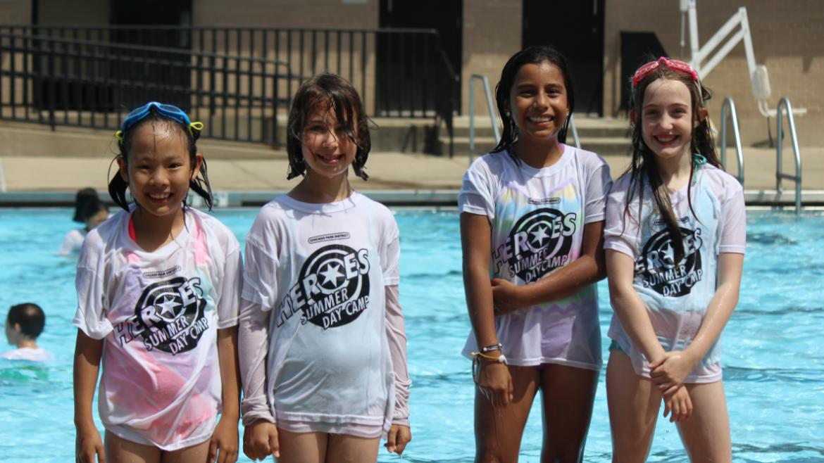 Indian Boundary campers in the River Park pool.