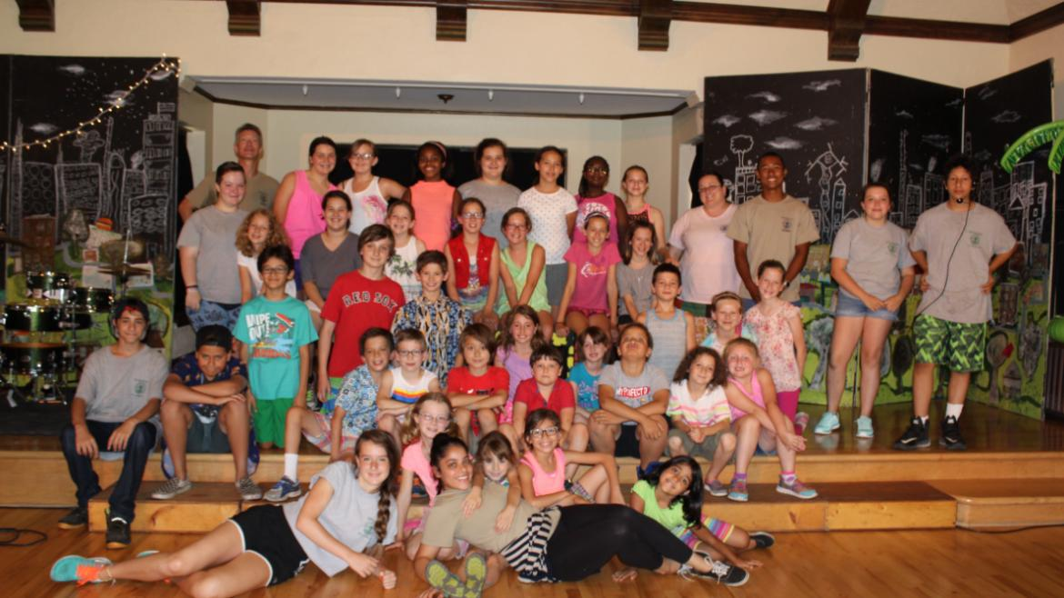 Group photo of Indian Boundary theater musical campers and staff.