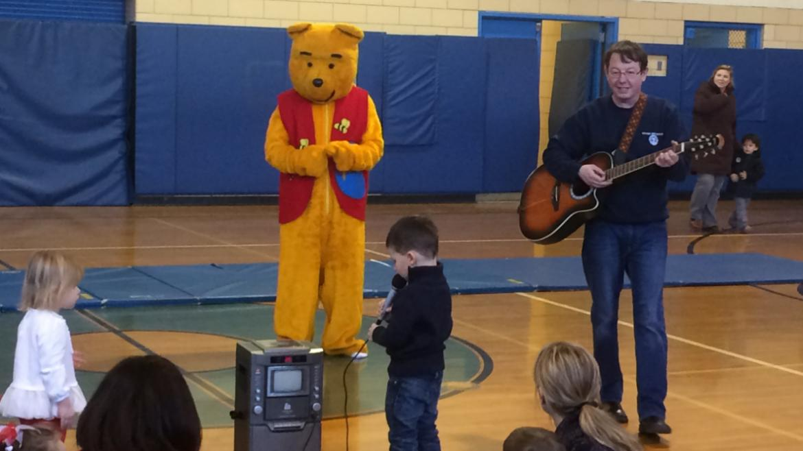 Dancing with Winnie the Pooh at Olympia Park this Valentine's Day.