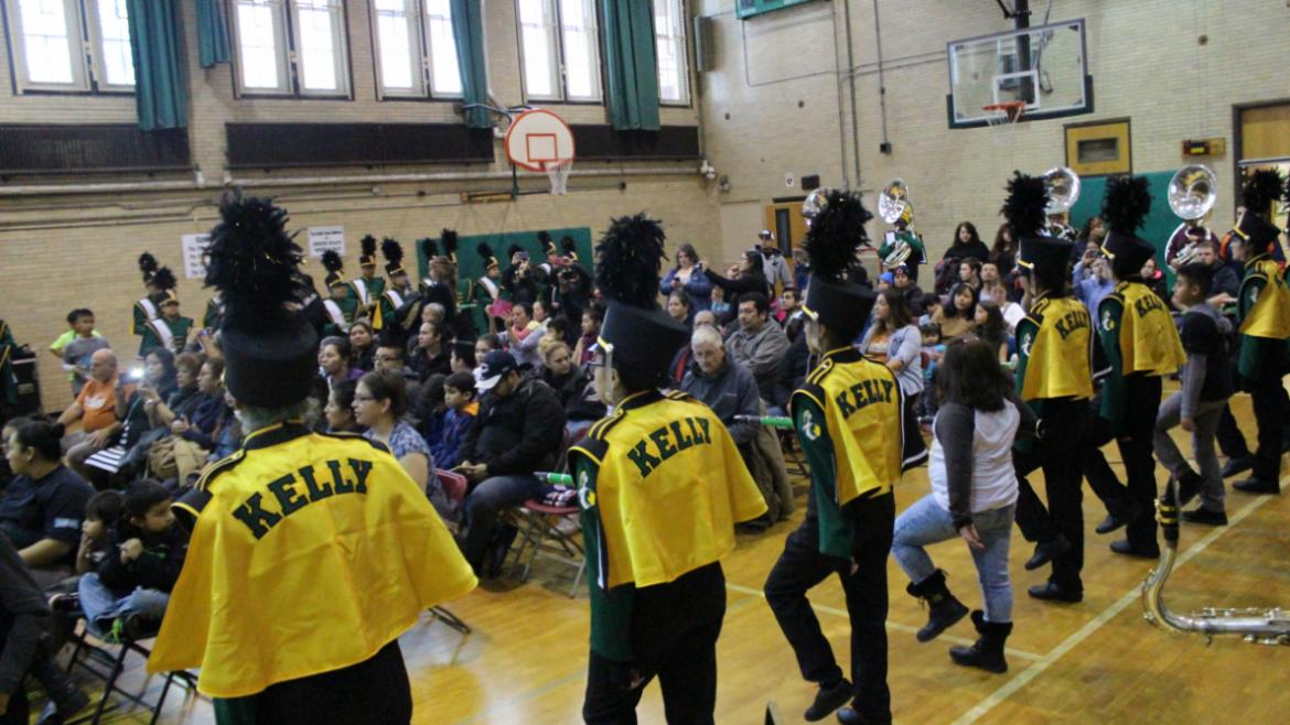 Kelly High School Marching Band played their hearts out during the Kelly Playground Opening Ceremony