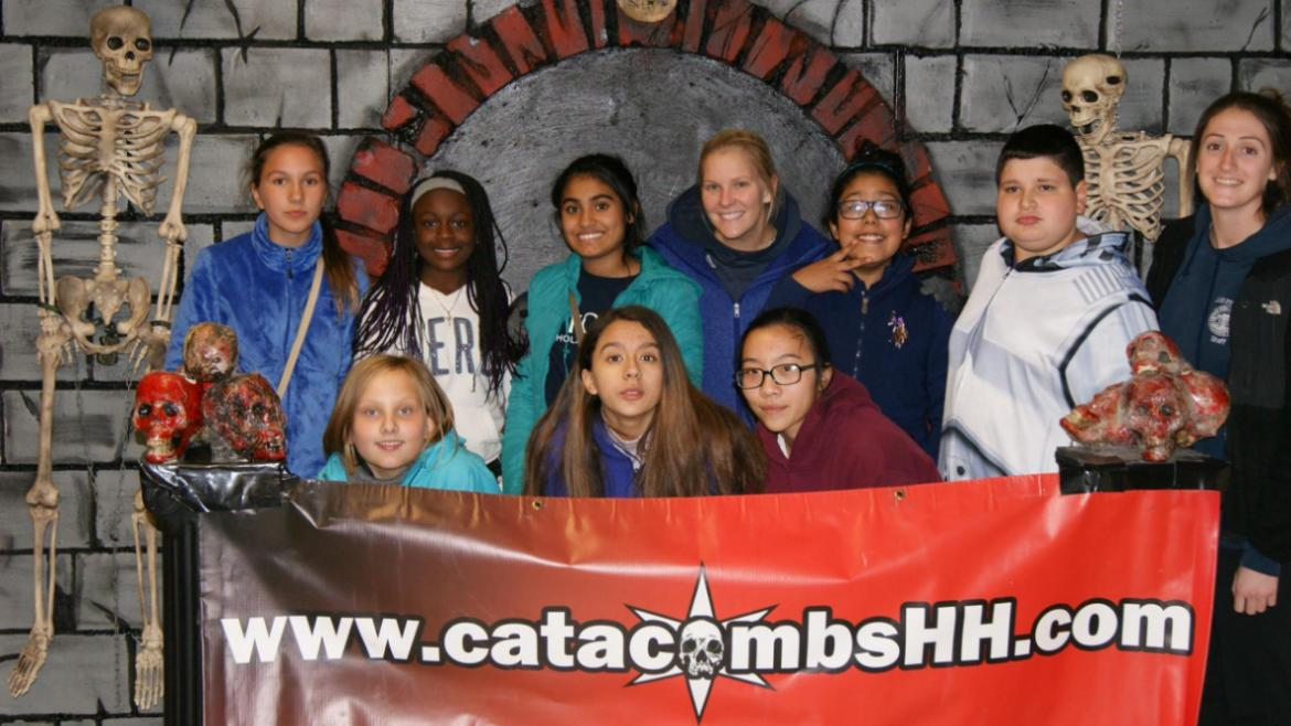 Kilbourn Park teens survived the haunted house outing! group pic.