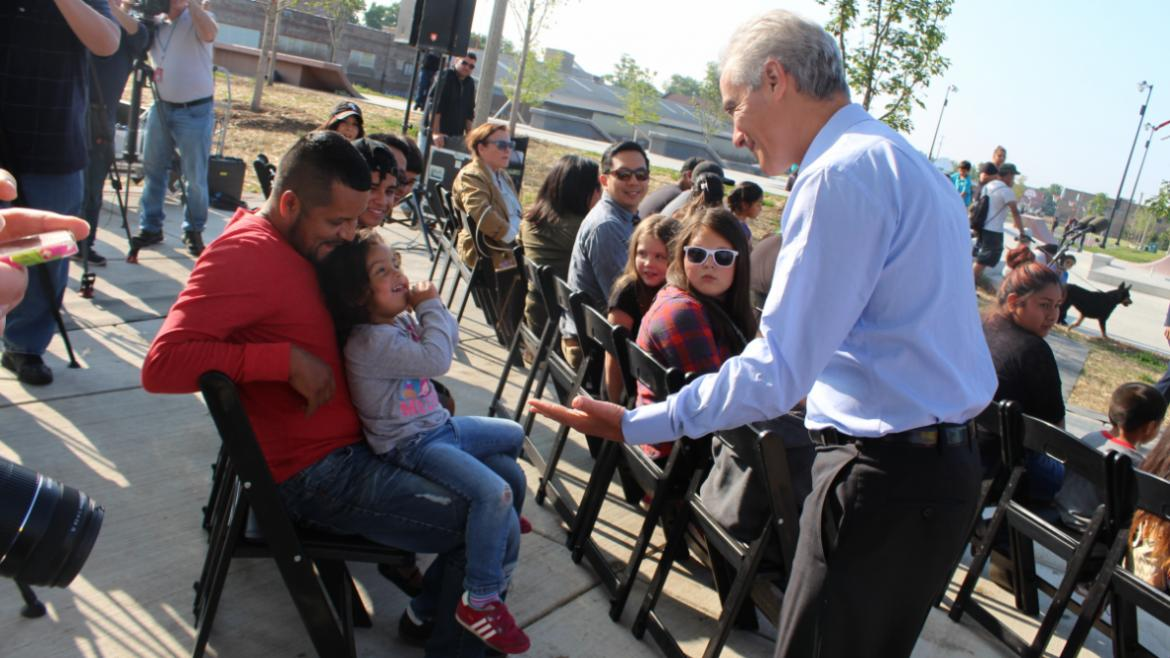 Community greetings at Great Chicago Fire Festival Kick-Off at La Villita Park