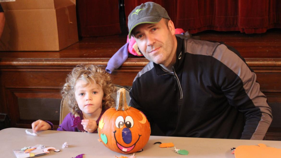 Daddy/Daughter pumpkin painting.