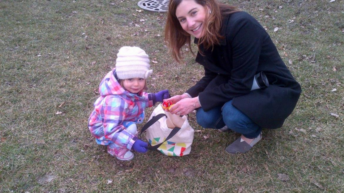 Checking out the eggs for prizes at Maplewood Park.
