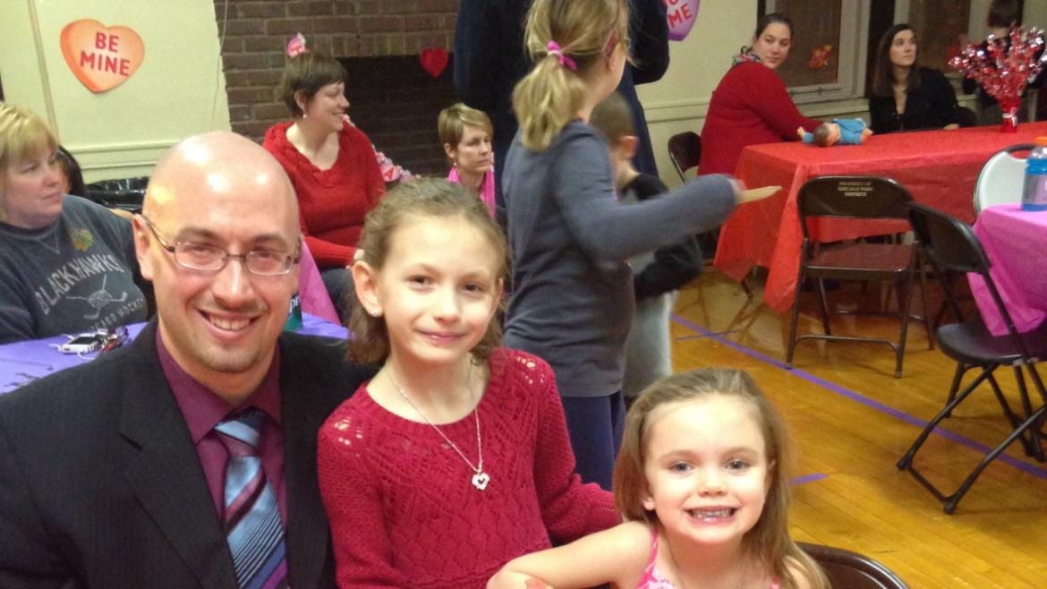 Daddy and his girls at Mayfair Park's Annual Dance.