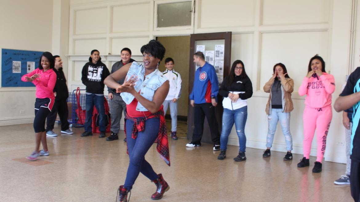 APRIL - Dance Instructor Ms. Elaine leads teens through some new dance moves at the Teen Fitness Fun