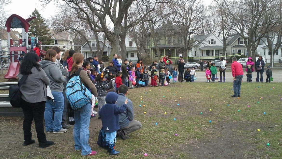 Kids are getting egg-cited for the hunt at Paschen Park.