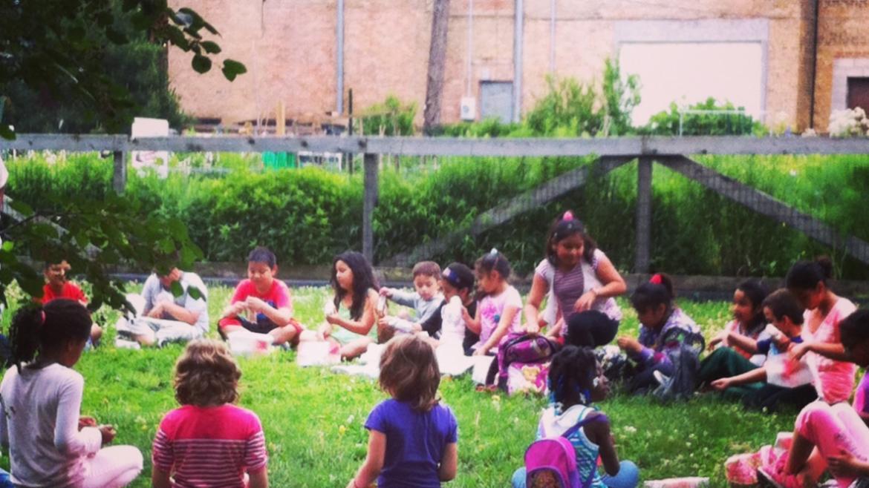 Campers at Schreiber Park enjoy outside games!