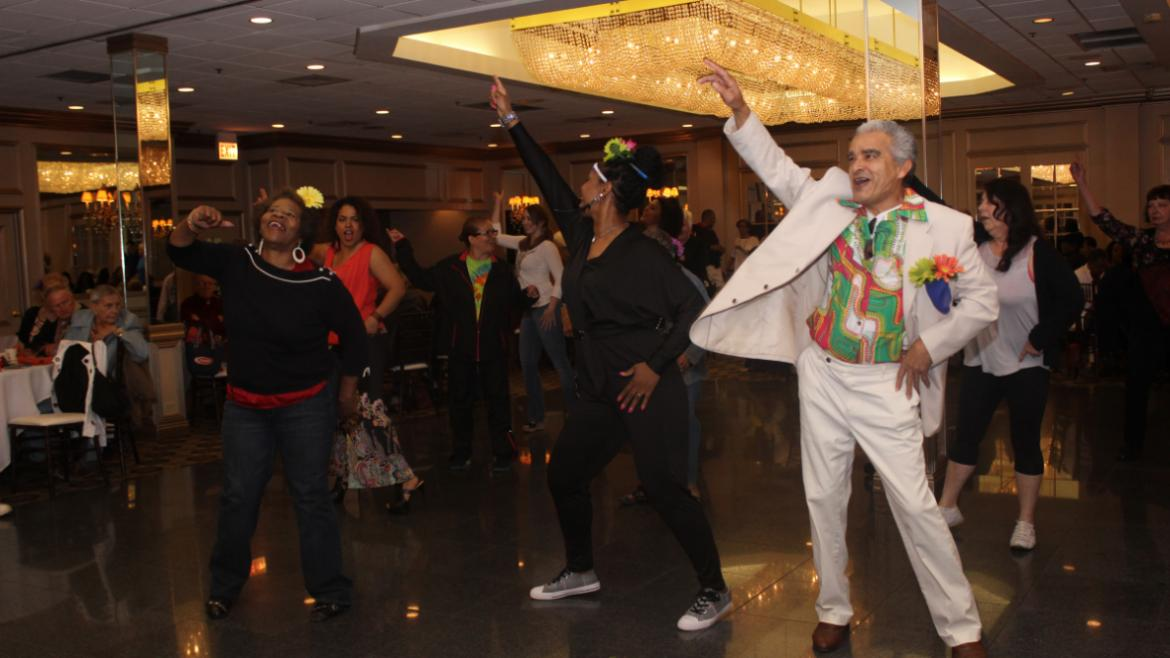 A little Saturday Night Fever going on at the senior luncheon.