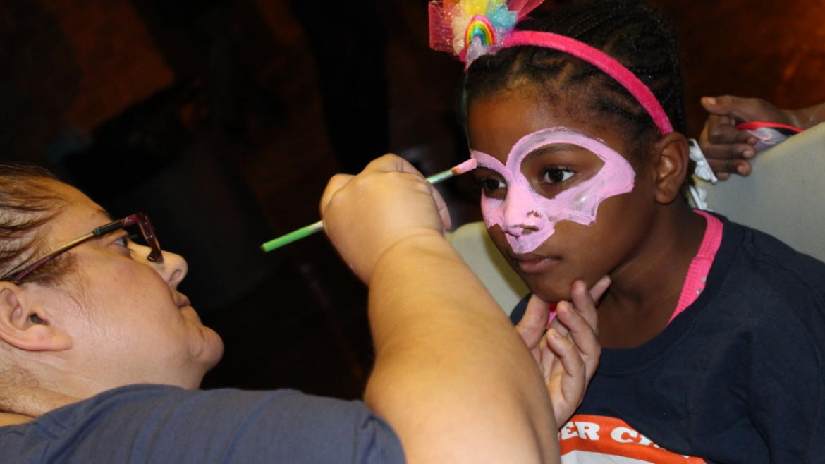 Getting my Face painted at Shedd Park's Tasty Treats