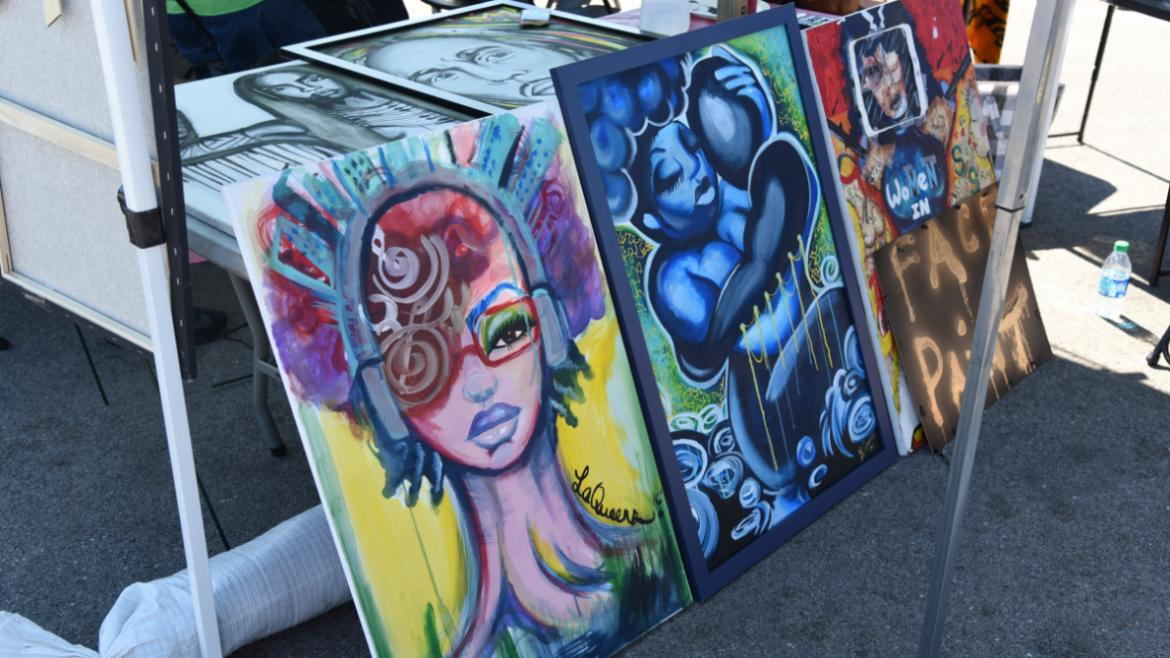 Murals, t-shirts and more for sale from local vendors at the fest