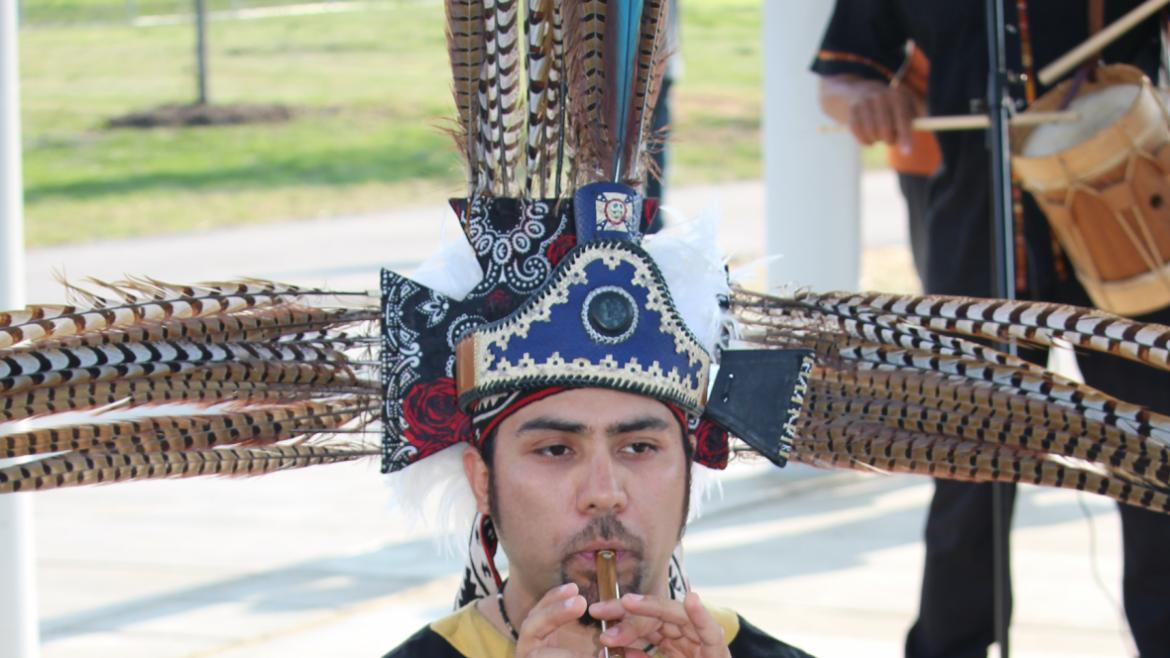 Tarima Son from Urban Gateways performs an Aztec dance at La Villita Park