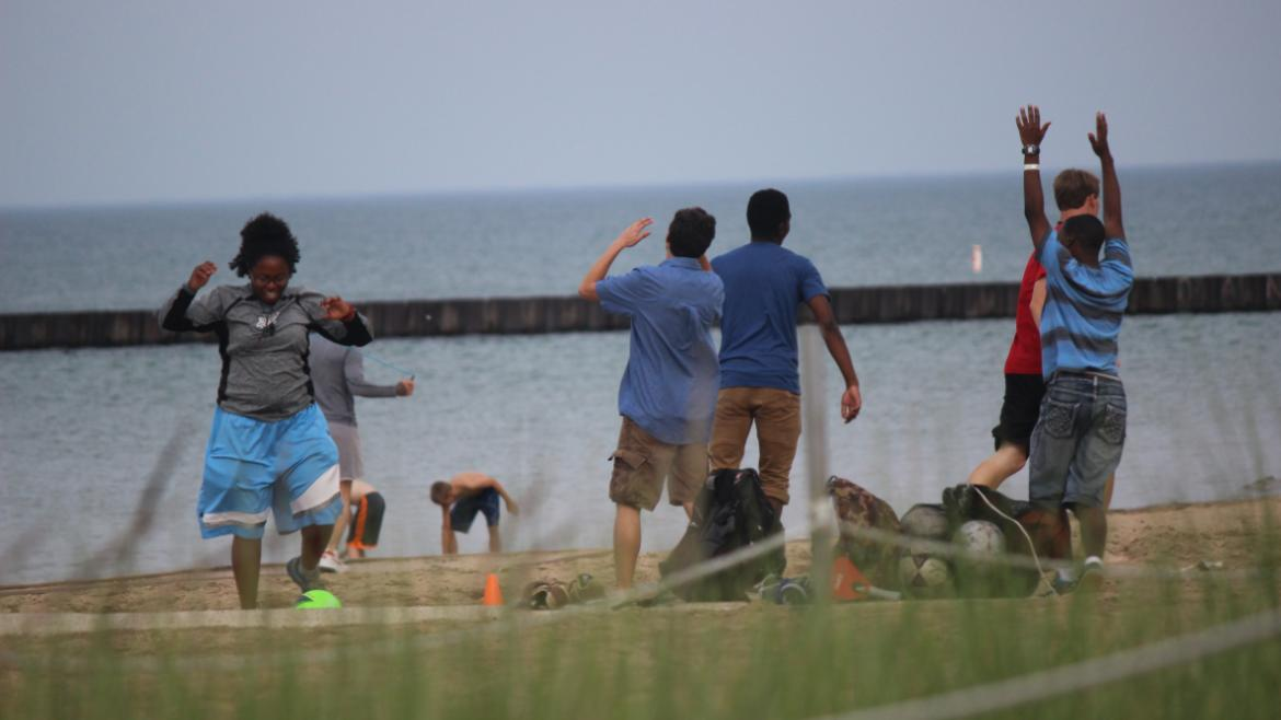 Teens enjoying Soccer at the Beach Bash