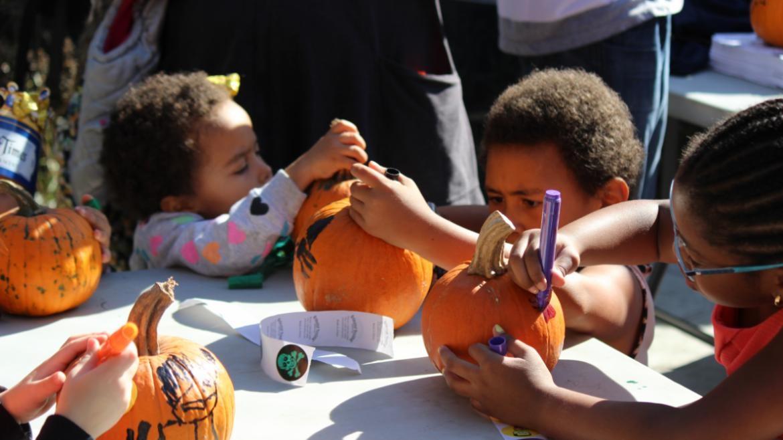 the kids love pumpkin painting