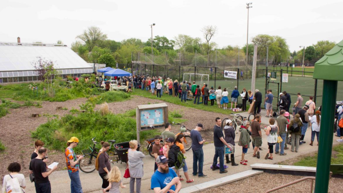 The early-birds are lining up for the Kilbourn Plant Sale