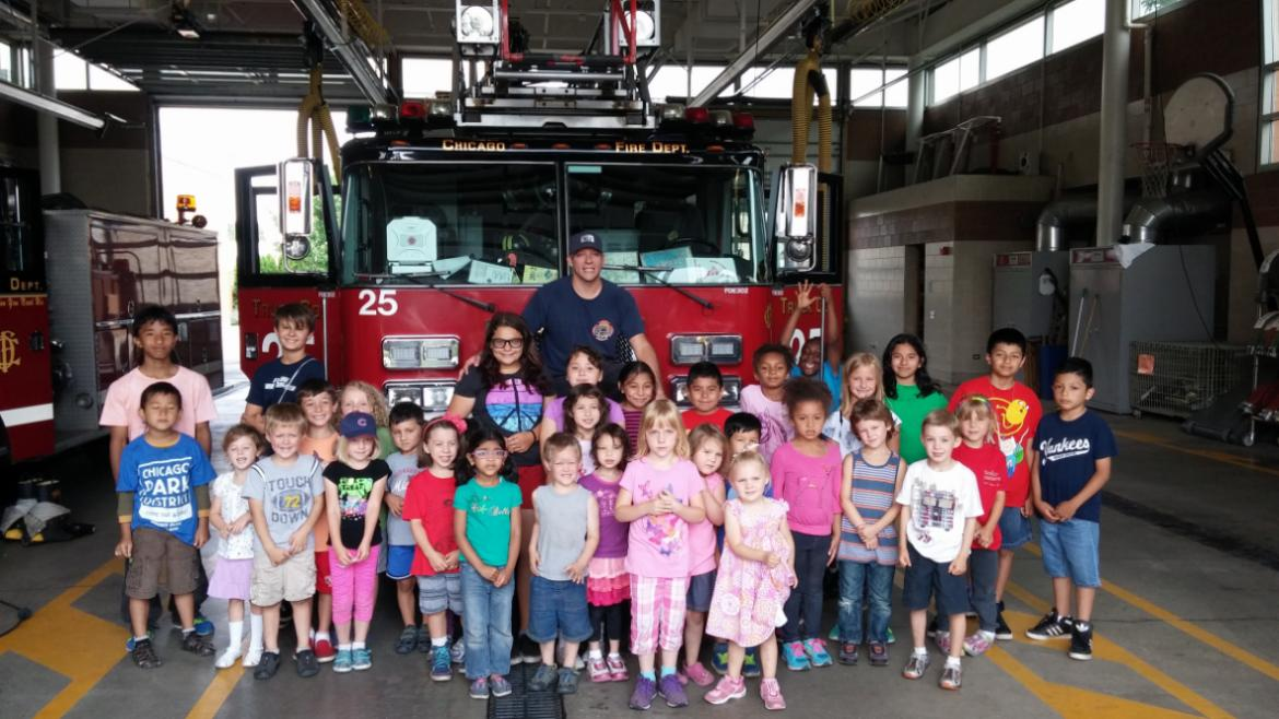 Campers from Touhy Park visted the local Fire Station.