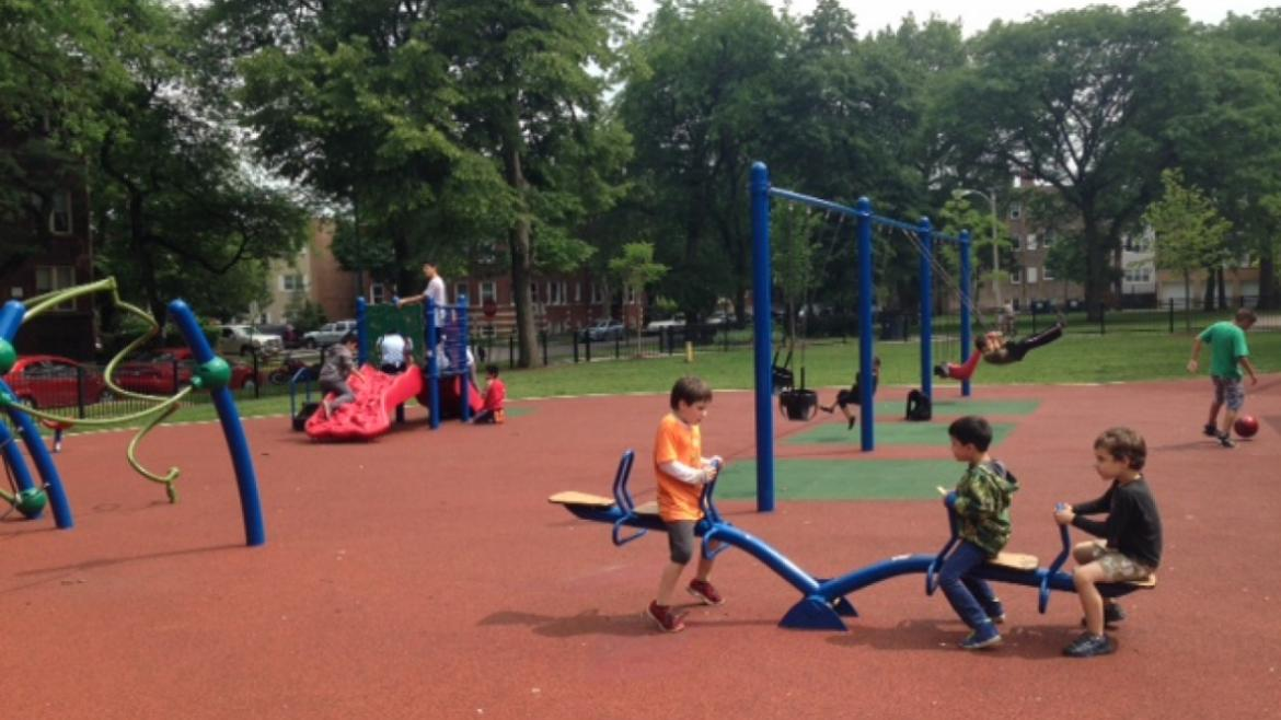 Playground fun at Touhy Park.