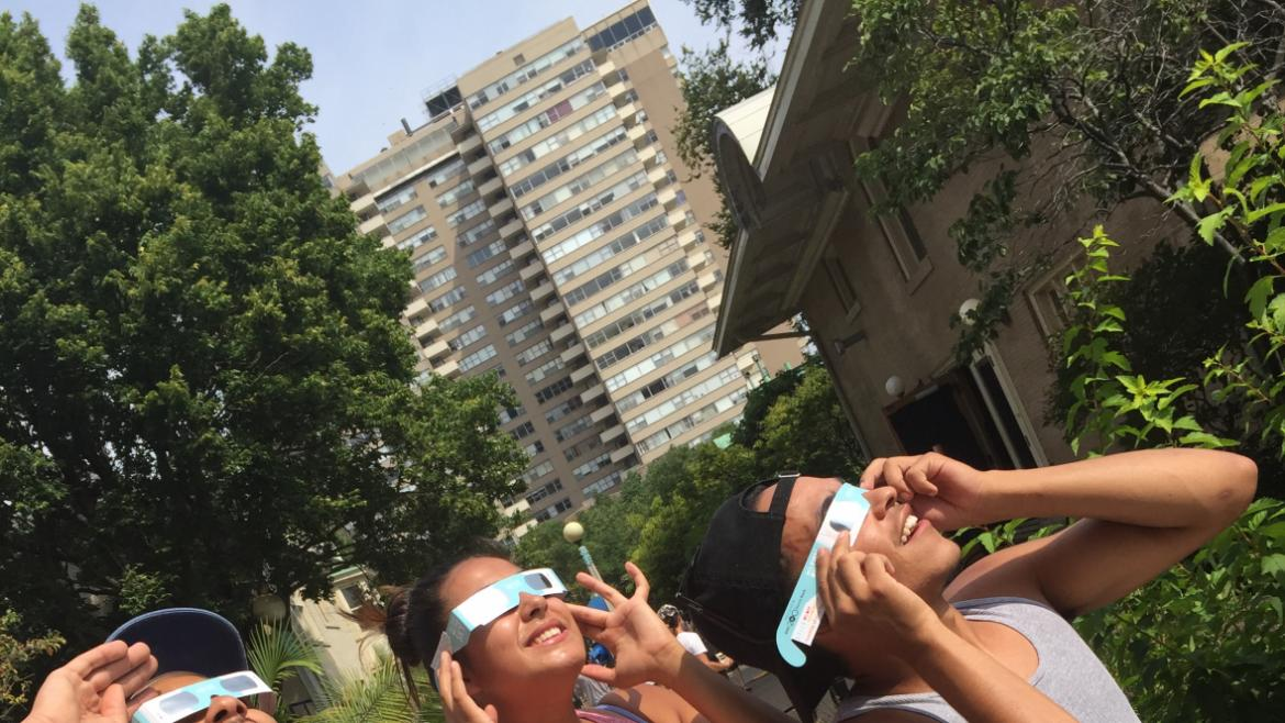 Park visitors of all ages enjoyed watching the eclipse at Berger Park.(20)