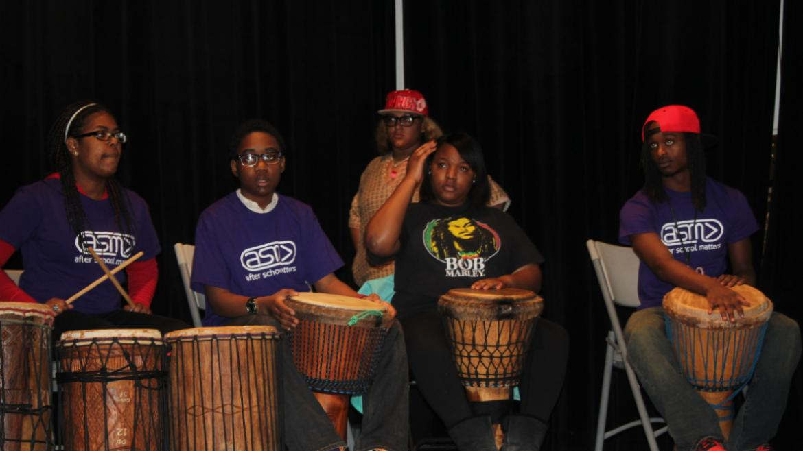 The After School Matters Drum Circle kicked up the beat