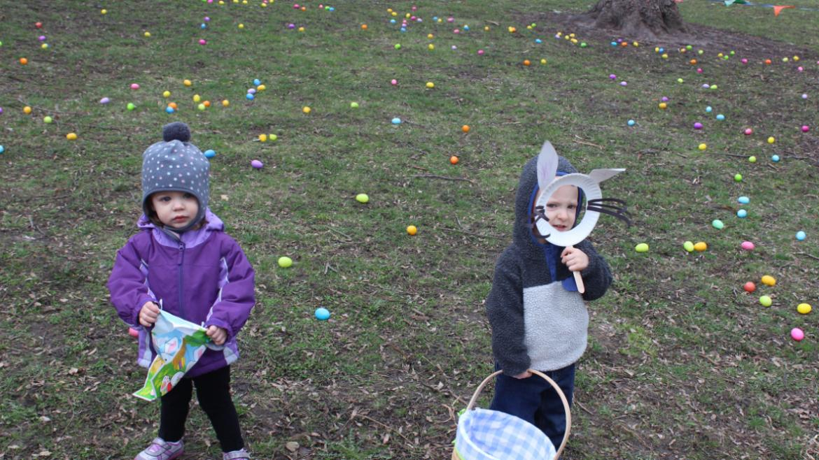 The egg hunt is underway at Welles Park.