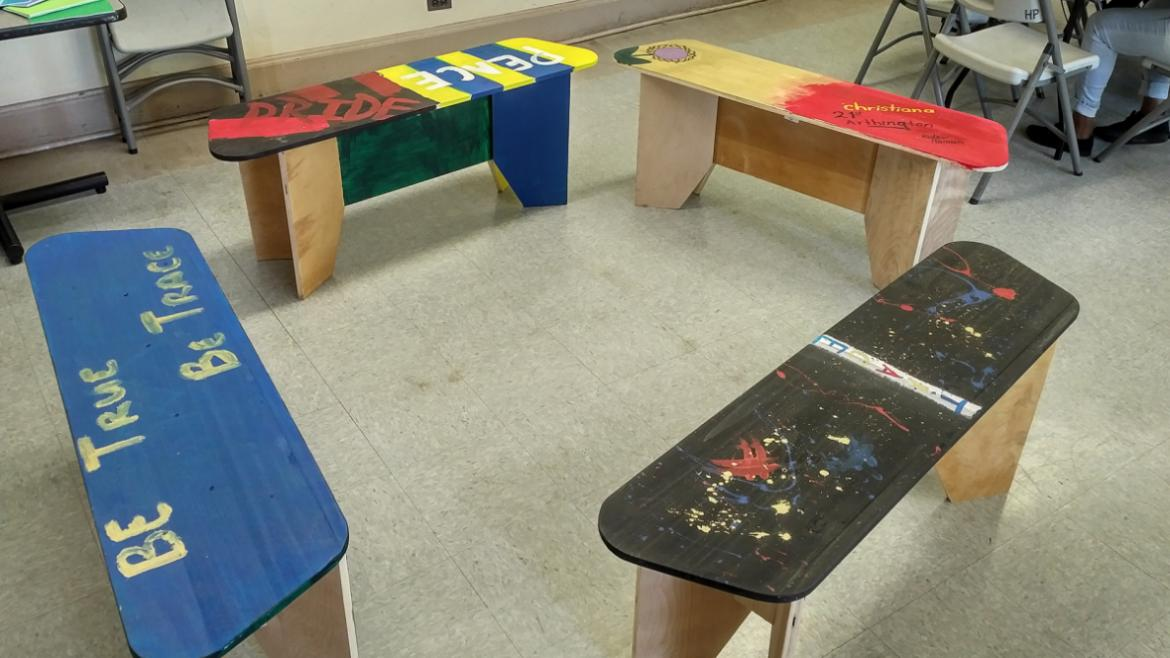 Custom benches designed by artist Norman Teague and painted by TRACE interns