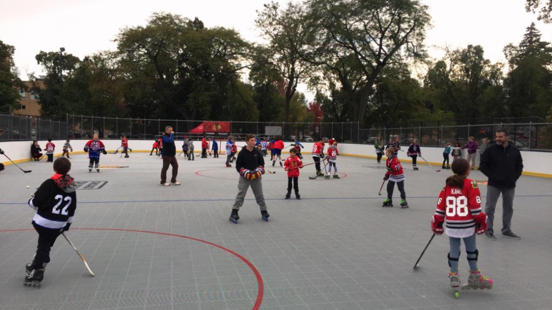 The new 75-foot x 160-foot rink at Norwood Park, 5801 N. Natoma Ave.