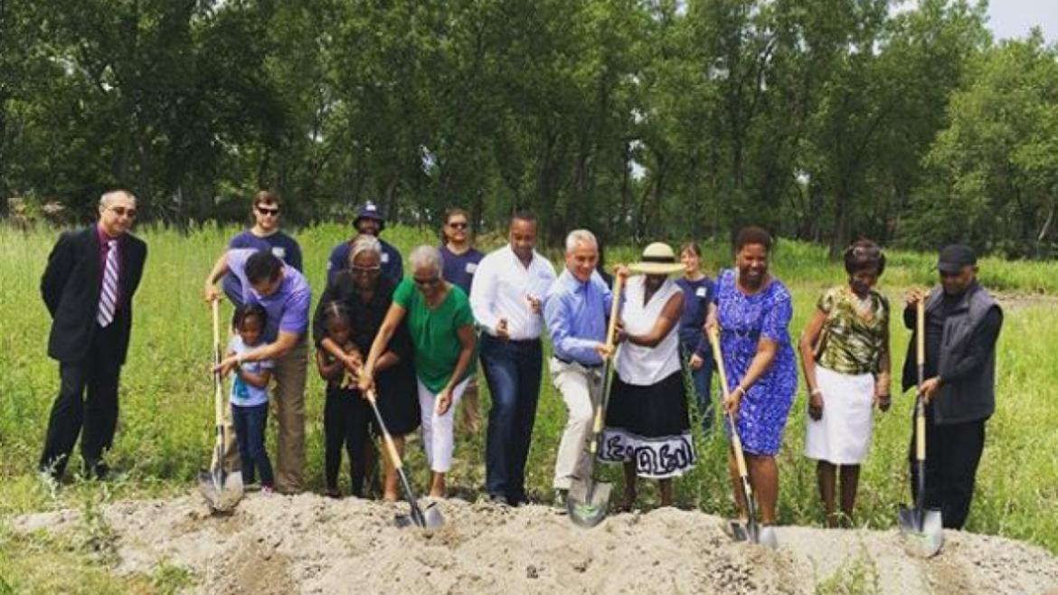 Chicago Park District breaks ground on the pedestrian trail at Park #562 also known as Marian Byrnes Park.