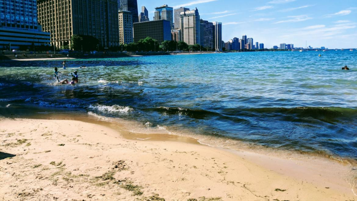Chicago's Shoreline damaged by severe weather.