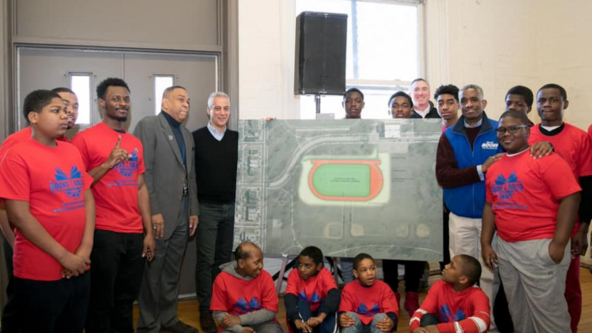Design for a new state-of-the-art, 8 lane track and athletic turf field at Ogden Park.