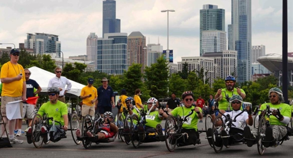 Starting line of an adaptive bicycle race at the 2013 Valor Games Midwest in Chicago.