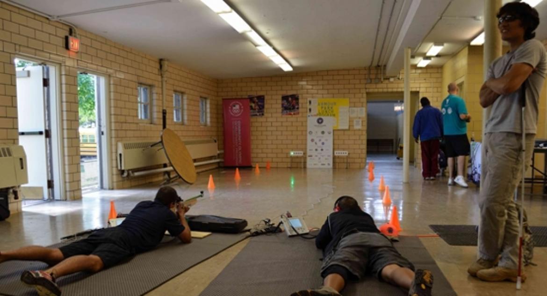 Veterans taking indoor target practice at McGuane Park.