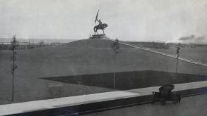 This early photograph of the Logan Monument was taken by George R. Lawrence, a successful commercial