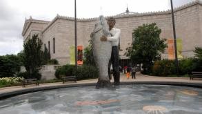 """Man with Fish is Stephan Balkenhol's first permanent public installation in America, 2010."""