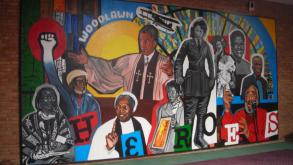 The expansive mural portrays ten nationally significant individuals who had ties with the Woodlawn c