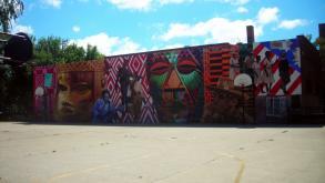 "This mural celebrates the life and accomplishments of the park's namesake, Jessie ""Ma"" Houston, 2012"