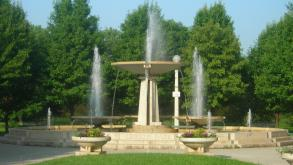 Along with the fountain, planted urns, benches, and lighting fixtures beauty this corner of the park
