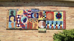 A group of local students conceptualized, designed and helped create the mosaic, focussing on themes